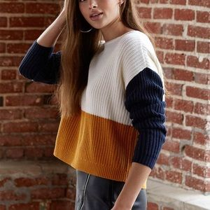 Pacsun Navy Mustard Colorblock Sweater